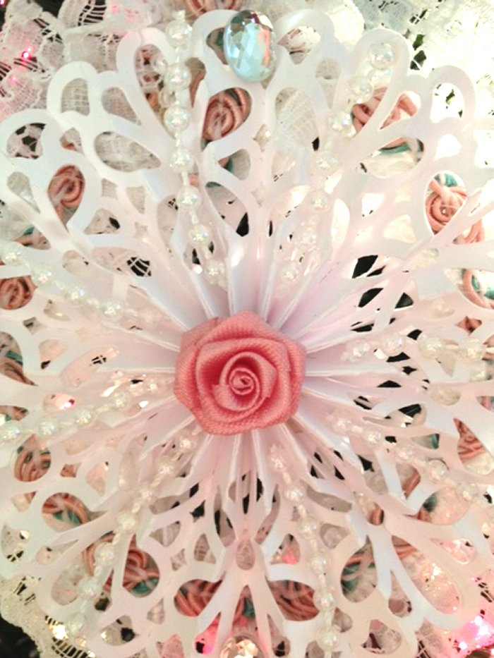 Craft Creations Christmas Lace Doily Snowflake Ornament