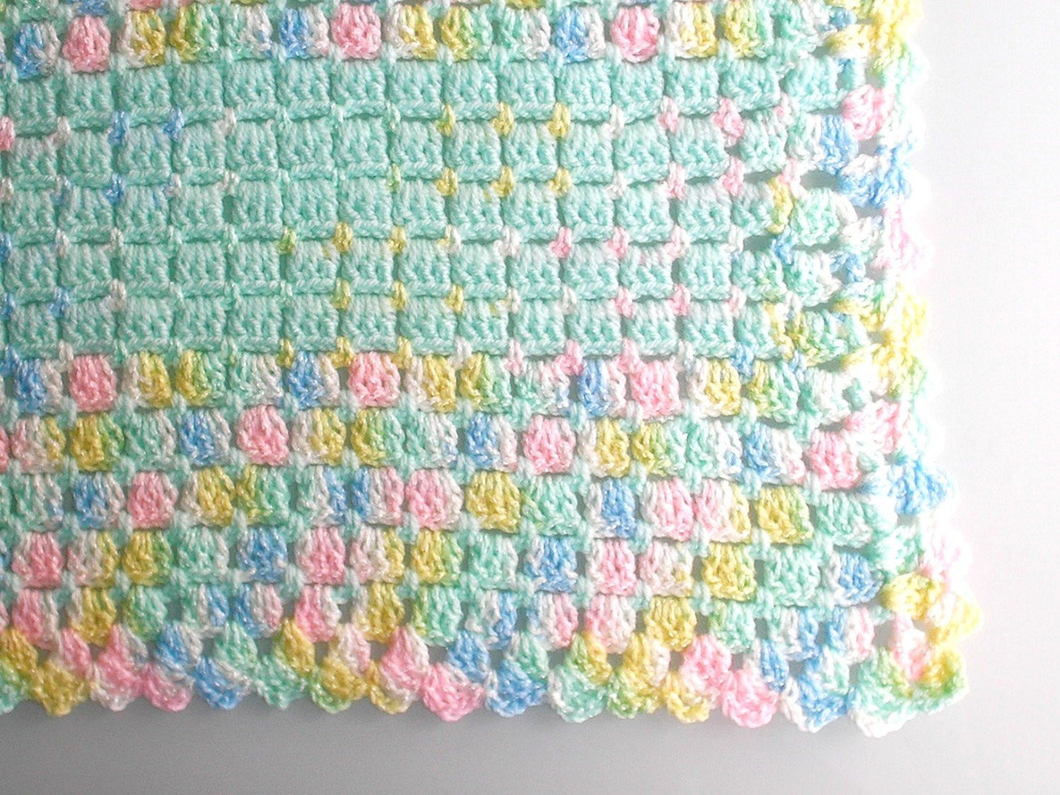 Baby Blanket crocheted in soft baby yarn mint green with
