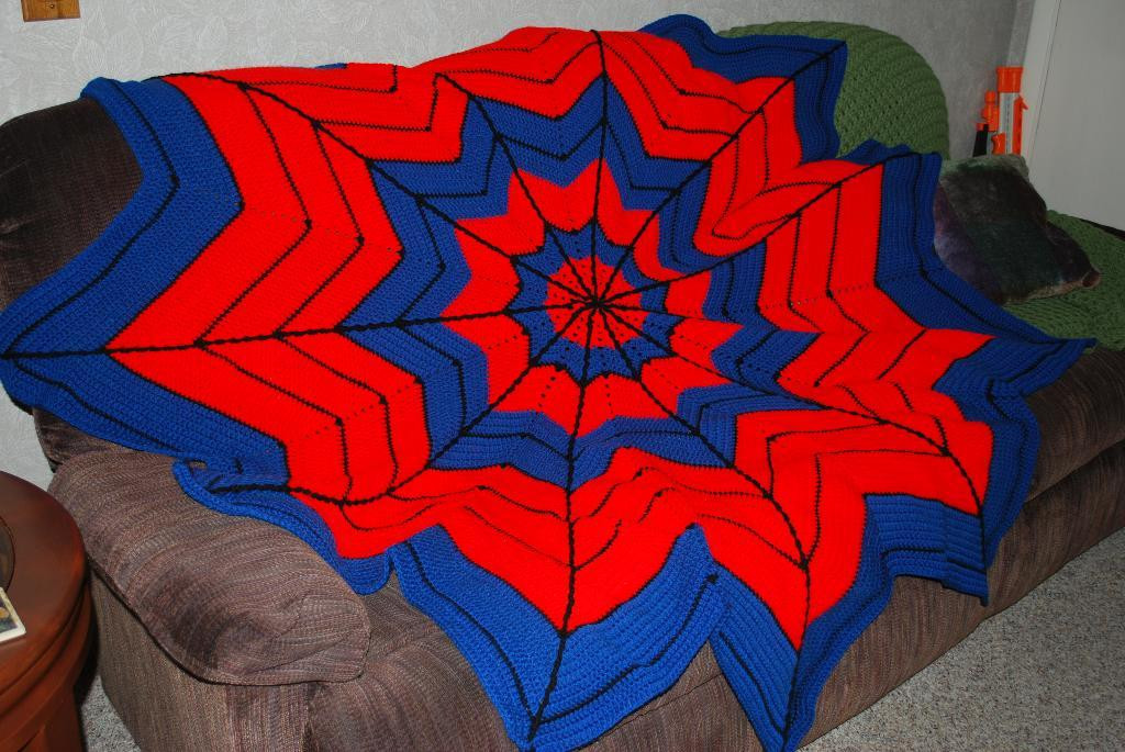 You have to see Spiderman Crocheted Afghan by KathyBecvar