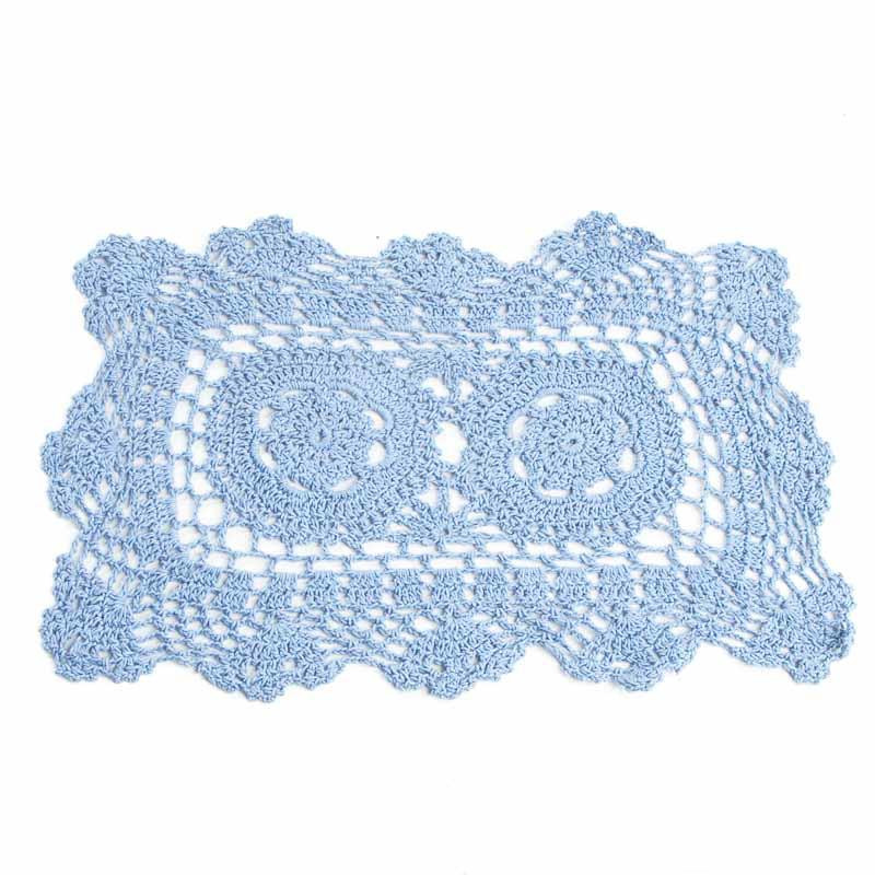 Blue Rectangular Crocheted Doily Crochet and Lace