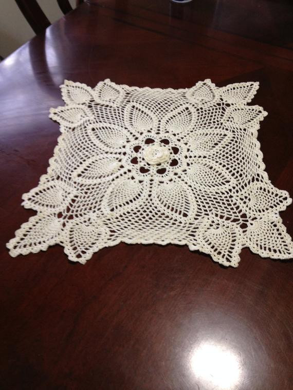 Square Doilies Beautiful Crochet Cream Color Square Pineapple Doilies Doily Center Rose Of Lovely 50 Pictures Square Doilies