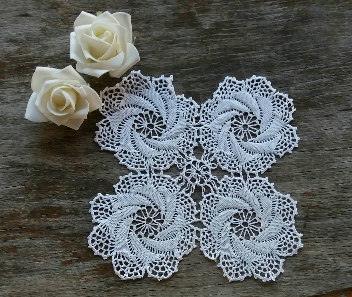 Square crochet doily White lace doily Small Flower Doily