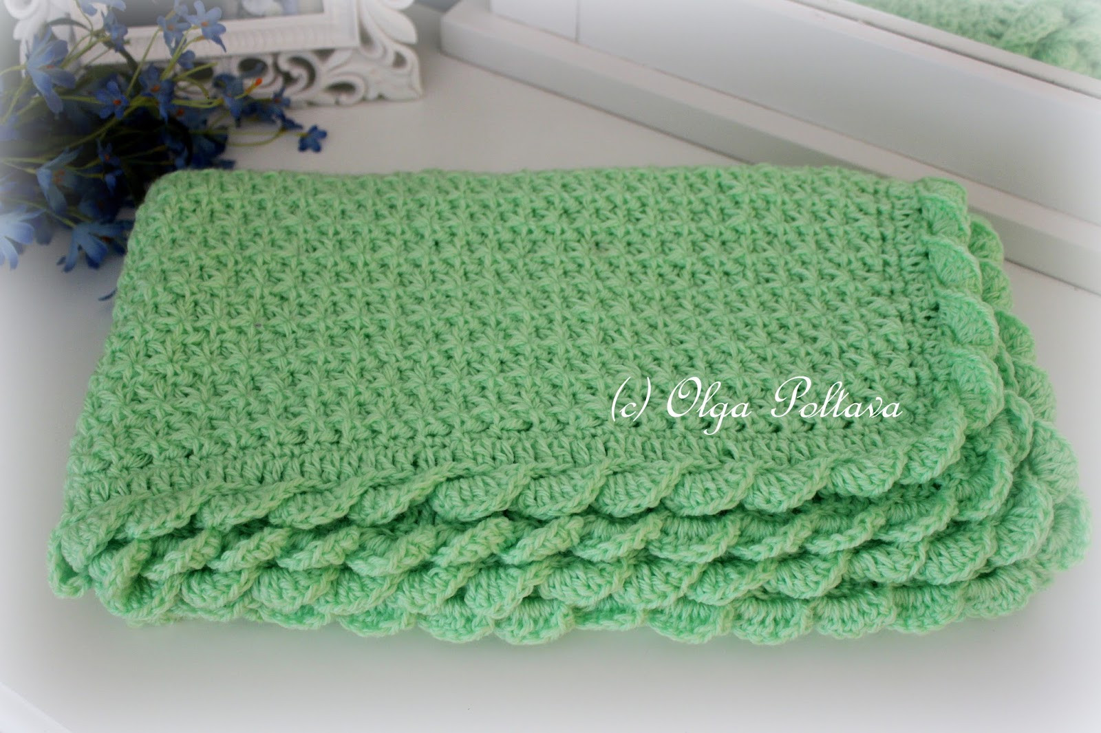 star stitch baby blanket with scalloped