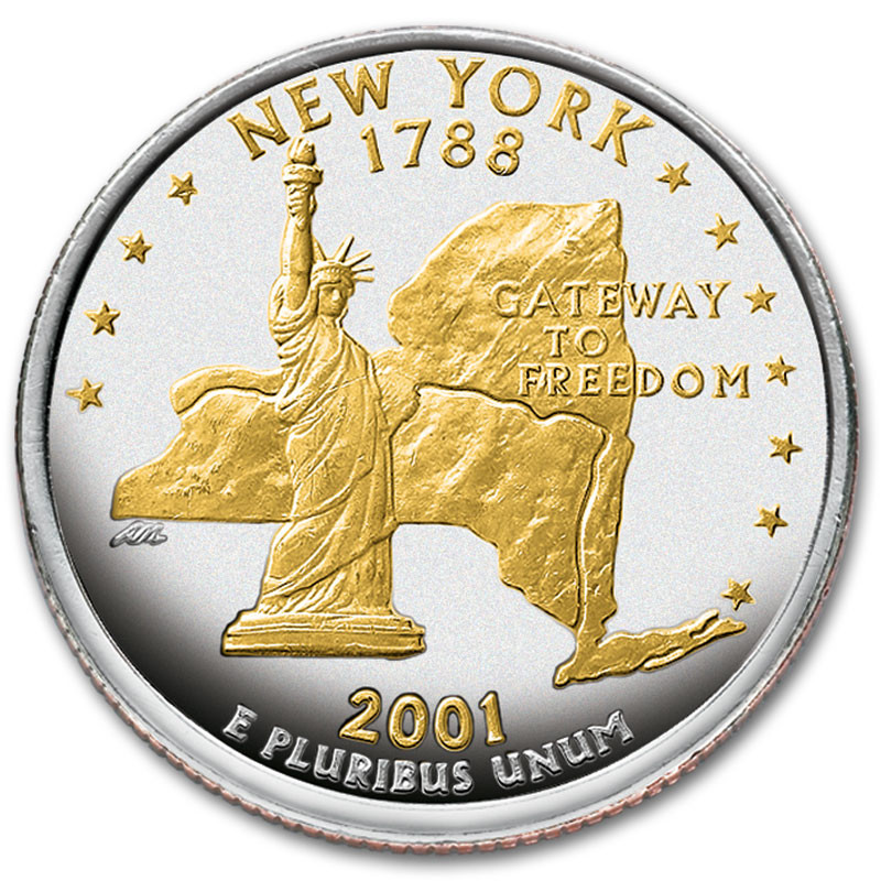 Gold and Silver Highlighted Statehood Quarters Collection