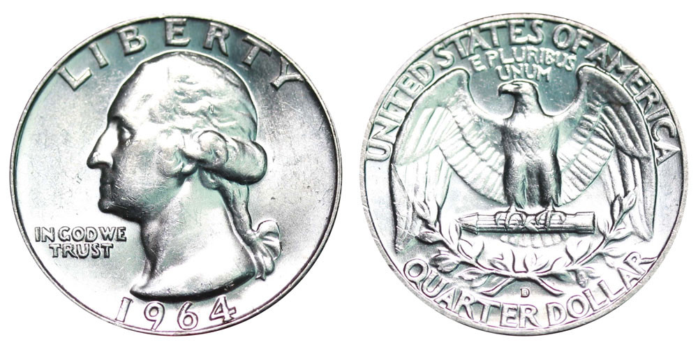 1964 D Washington Quarters Silver position Value and