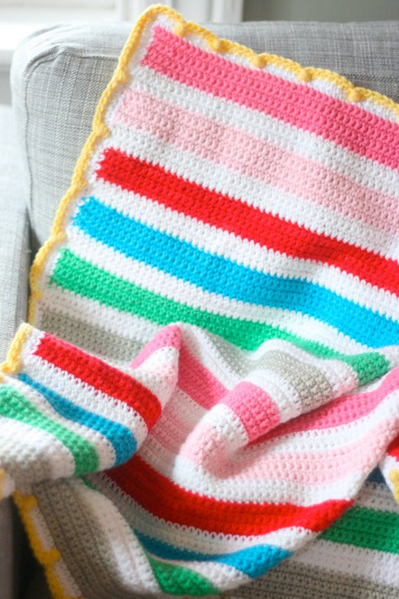 Striped Baby Blanket Best Of Items Similar to Easy Crochet Striped Baby Blanket Pattern Of Lovely 48 Pics Striped Baby Blanket