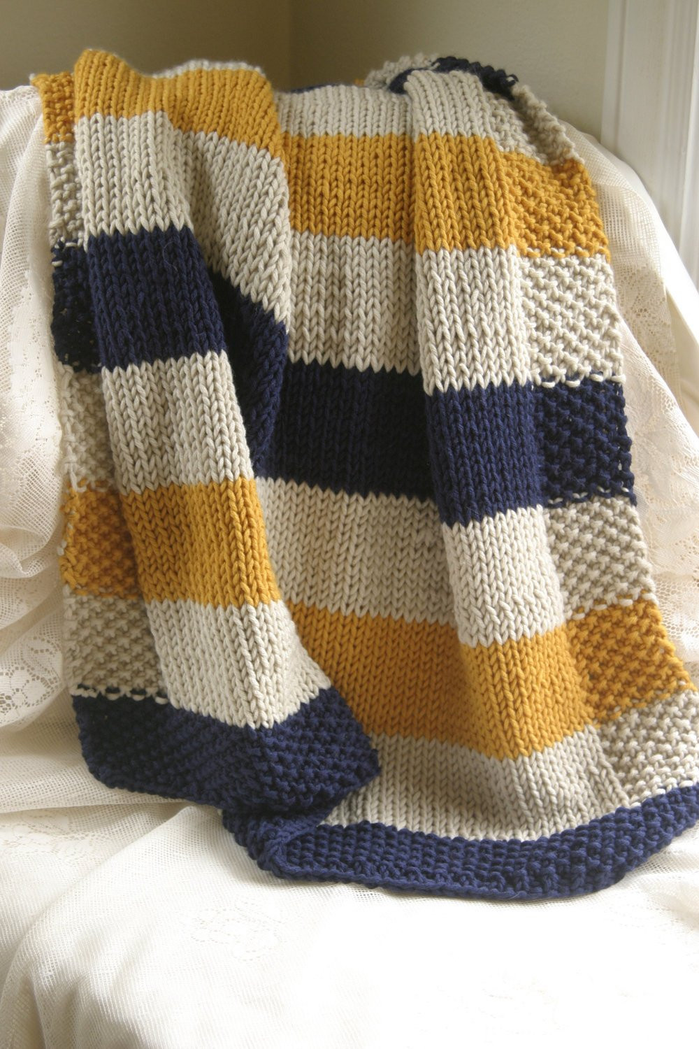 Striped Baby Blanket Inspirational Navy Mustard and Cream Hand Knit Baby Blanket Of Lovely 48 Pics Striped Baby Blanket