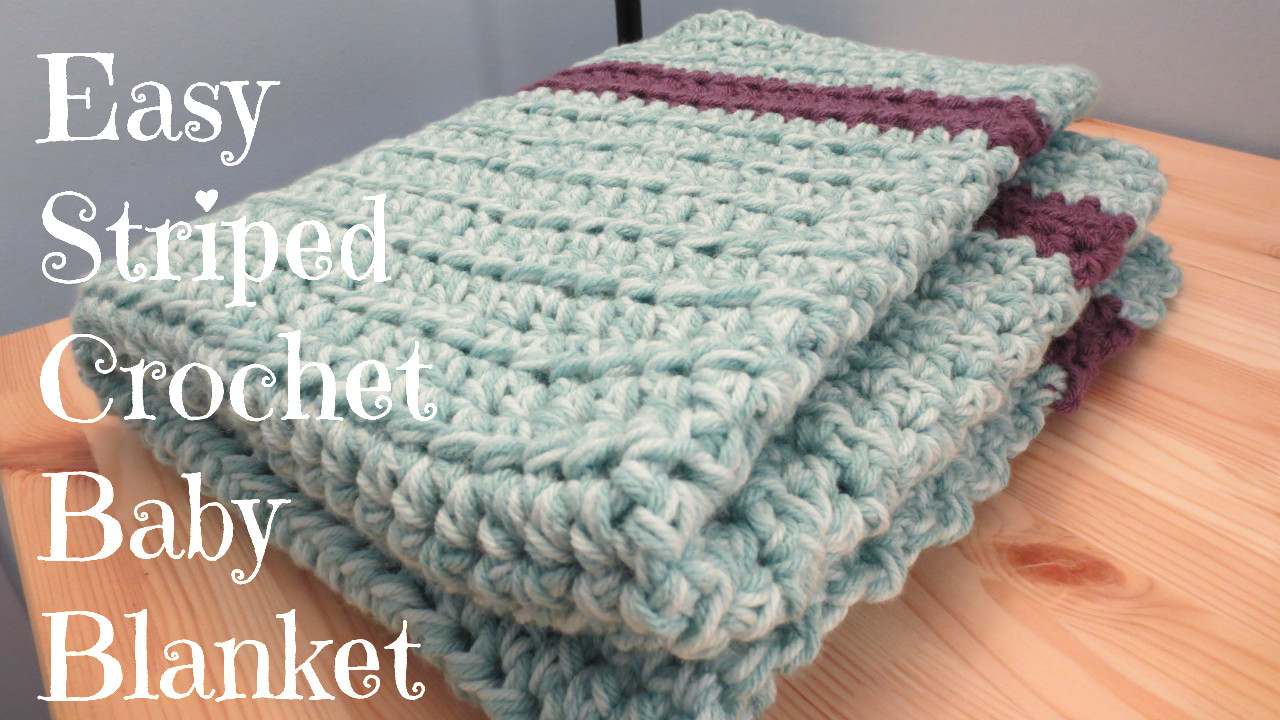 Crafting With Clau Easy Striped Crochet Baby Blanket