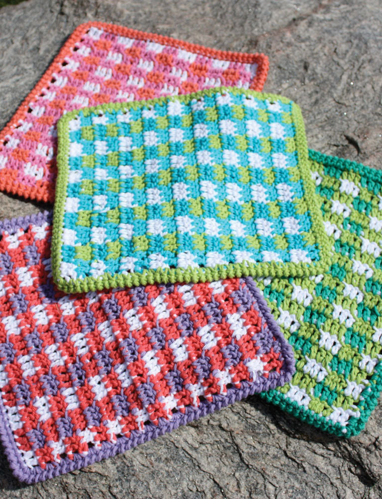 Mod Gingham Dishcloth in Lily Sugar and Cream Solids
