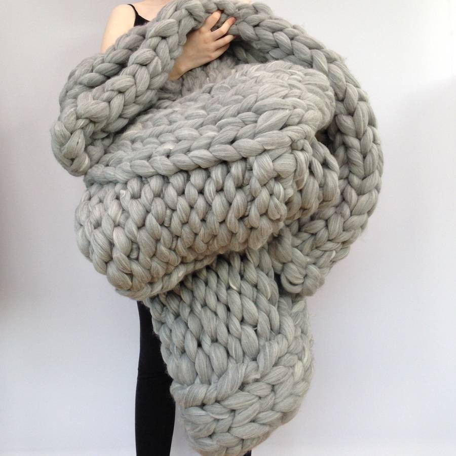 giant hand knitted super chunky blanket by wool couture