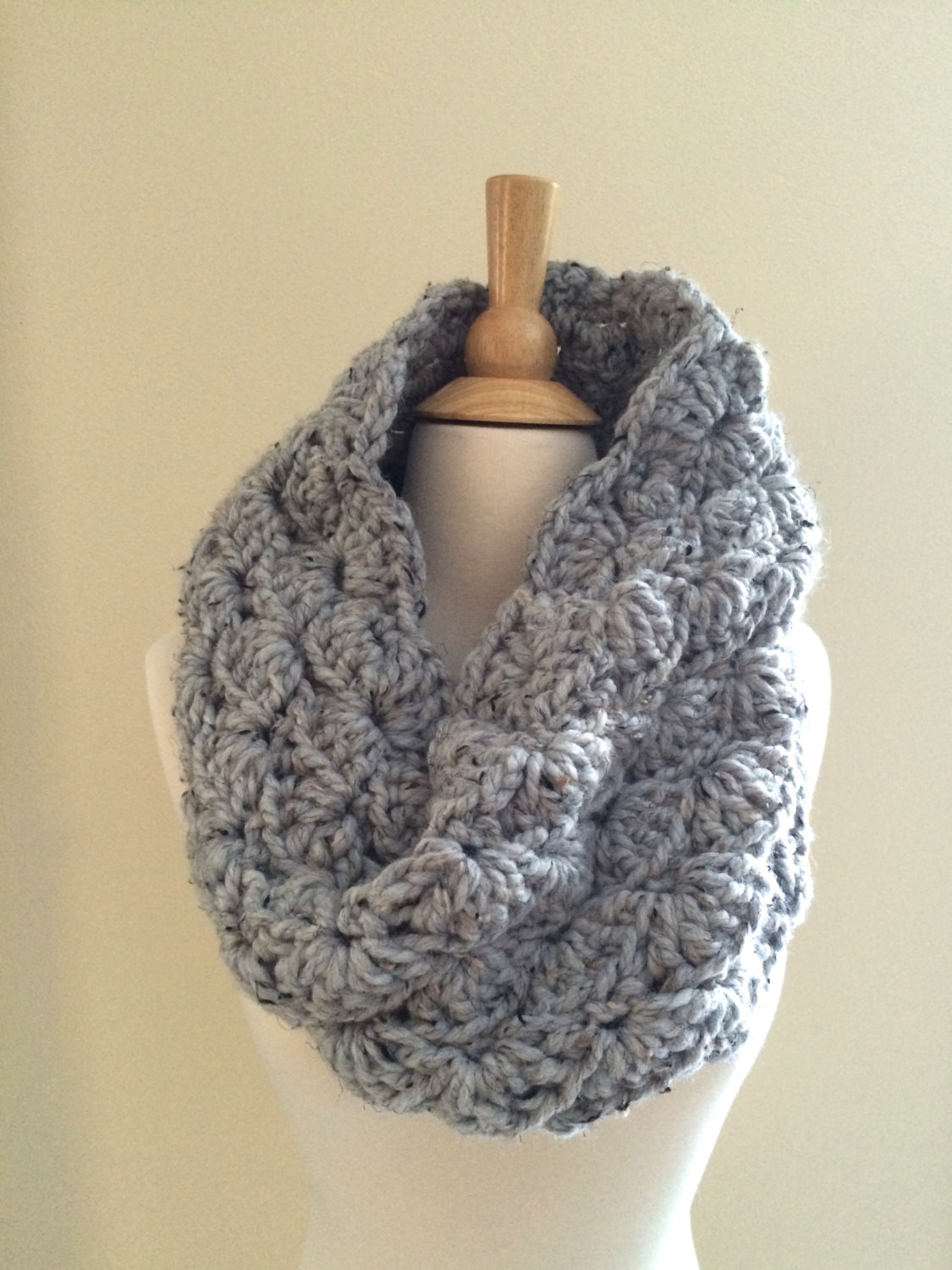 DIY Crochet Pattern Sophie Cowl Super Bulky Lacy Infinity