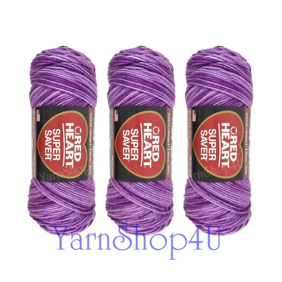 3 pack PURPLE TONES Red Heart Super Saver purple