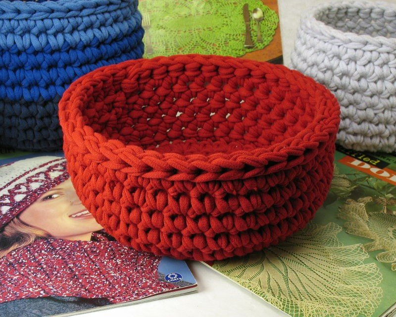 Crochet Bowl made using Recycled T shirt yarn Red
