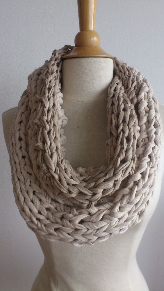 T Shirt Yarn for Sale Elegant Beige Cowl Made From T Shirt Yarn Ooak Beige Scarf Of Perfect 40 Models T Shirt Yarn for Sale