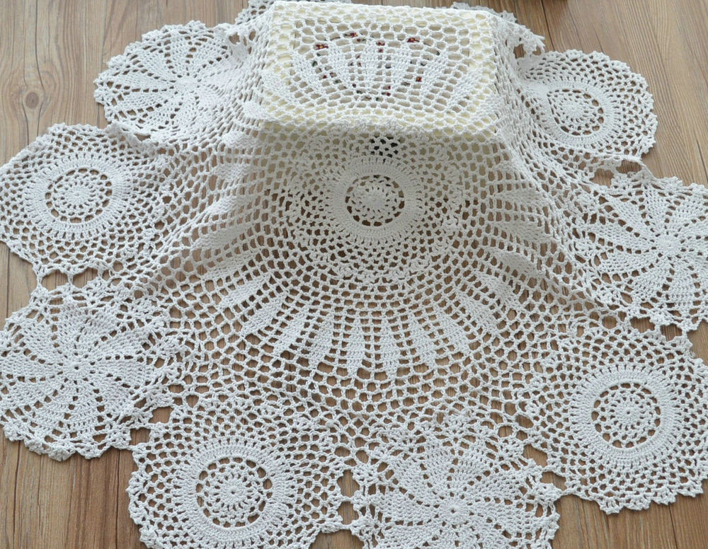 """Table Doilies Luxury 34"""" White Snowflake Hand Crochet Round Table Cloth topper Of Attractive 44 Pictures Table Doilies"""