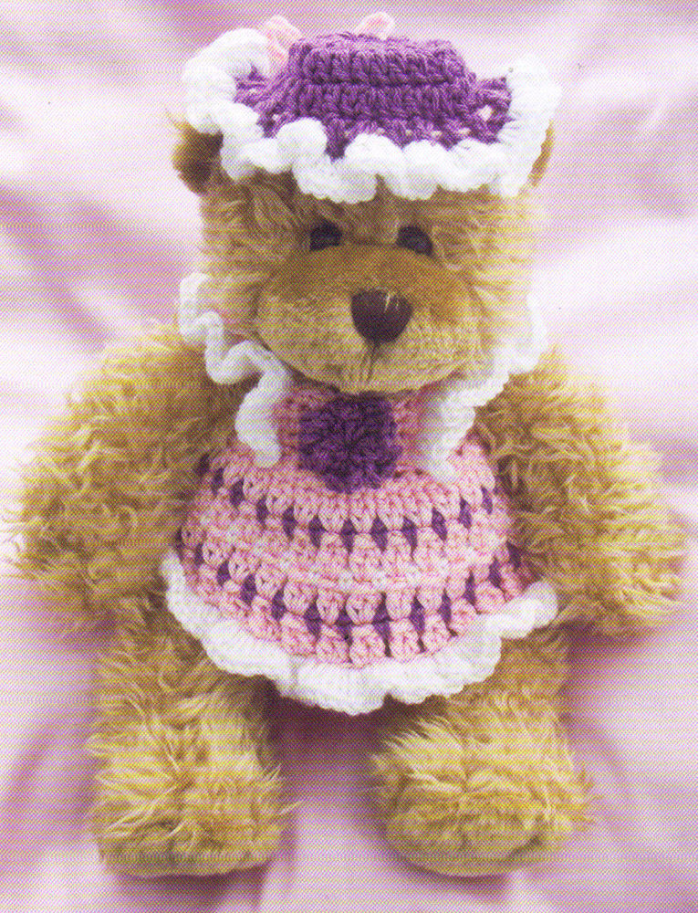 PRETTY Teddy Bear Party Pinafore & Hat BearOutfit Crochet