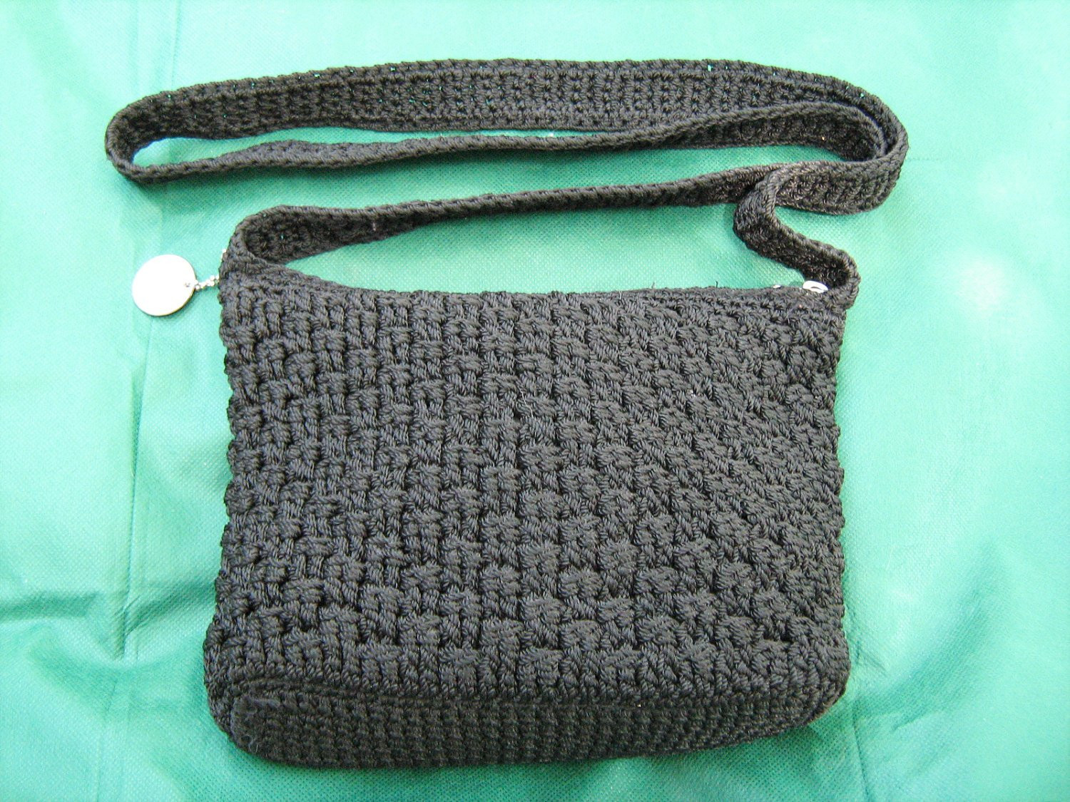 The Sak Black Crochet Cross Body Shoulder Bag Purse Handbag