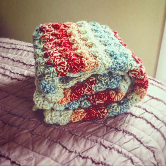 Double thick Multi Colored Shell Crochet Baby Blanket lap