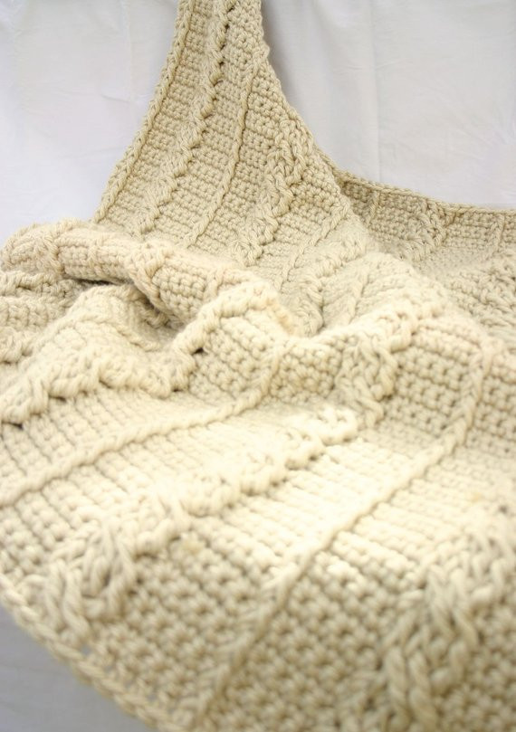 Crochet afghan cream cables thick bulky off white aran neutral