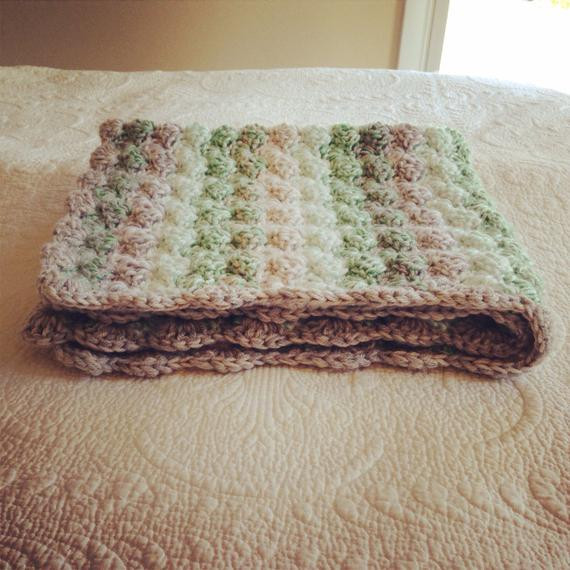 Double thick Greens and Grays Shell Crochet Baby Blanket lap
