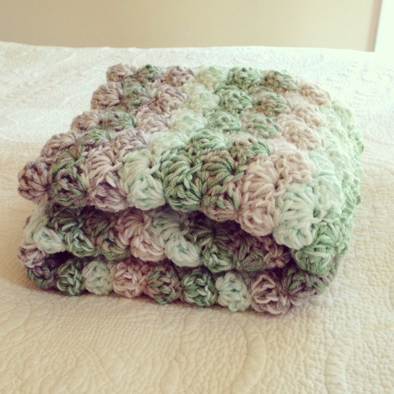 Thick Crochet Blanket Lovely Double Thick Greens and Grays Shell Crochet Baby Blanket Of Delightful 42 Pics Thick Crochet Blanket