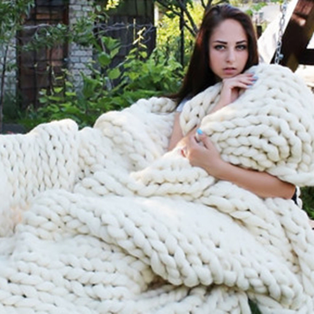 Thick Knit Blanket Inspirational 120 150cm Warm Chunky Knit Blanket Thick Yarn Wool Of Wonderful 47 Models Thick Knit Blanket