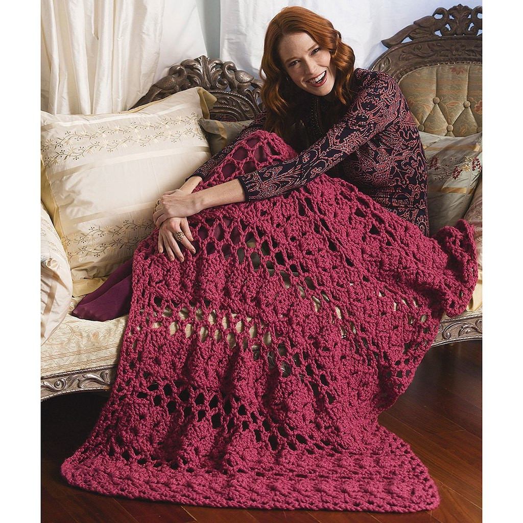 Thick Yarn Crochet Inspirational Lion Brand Wool Ease Thick & Quick Lacy Eyelets Afghan Of Superb 49 Models Thick Yarn Crochet