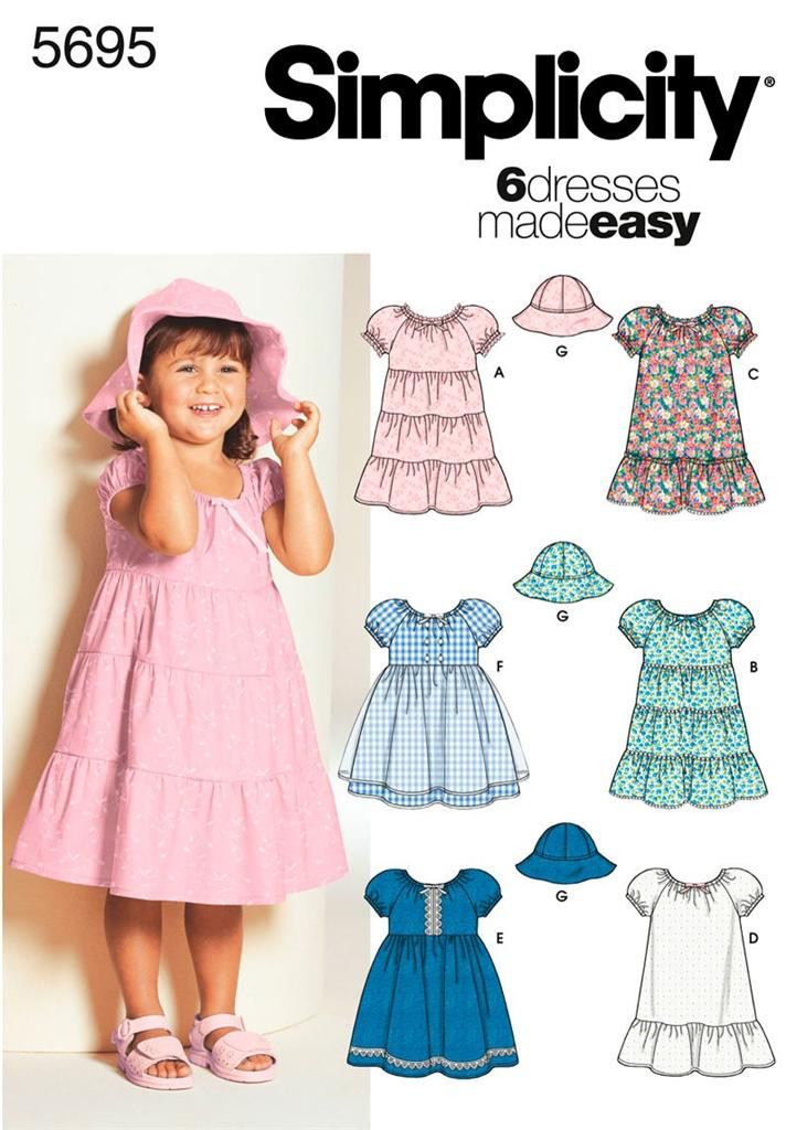 Toddler Dress Patterns Awesome Simplicity 5695 Sewing Pattern toddler S Dresses Girls Of Contemporary 40 Pictures toddler Dress Patterns