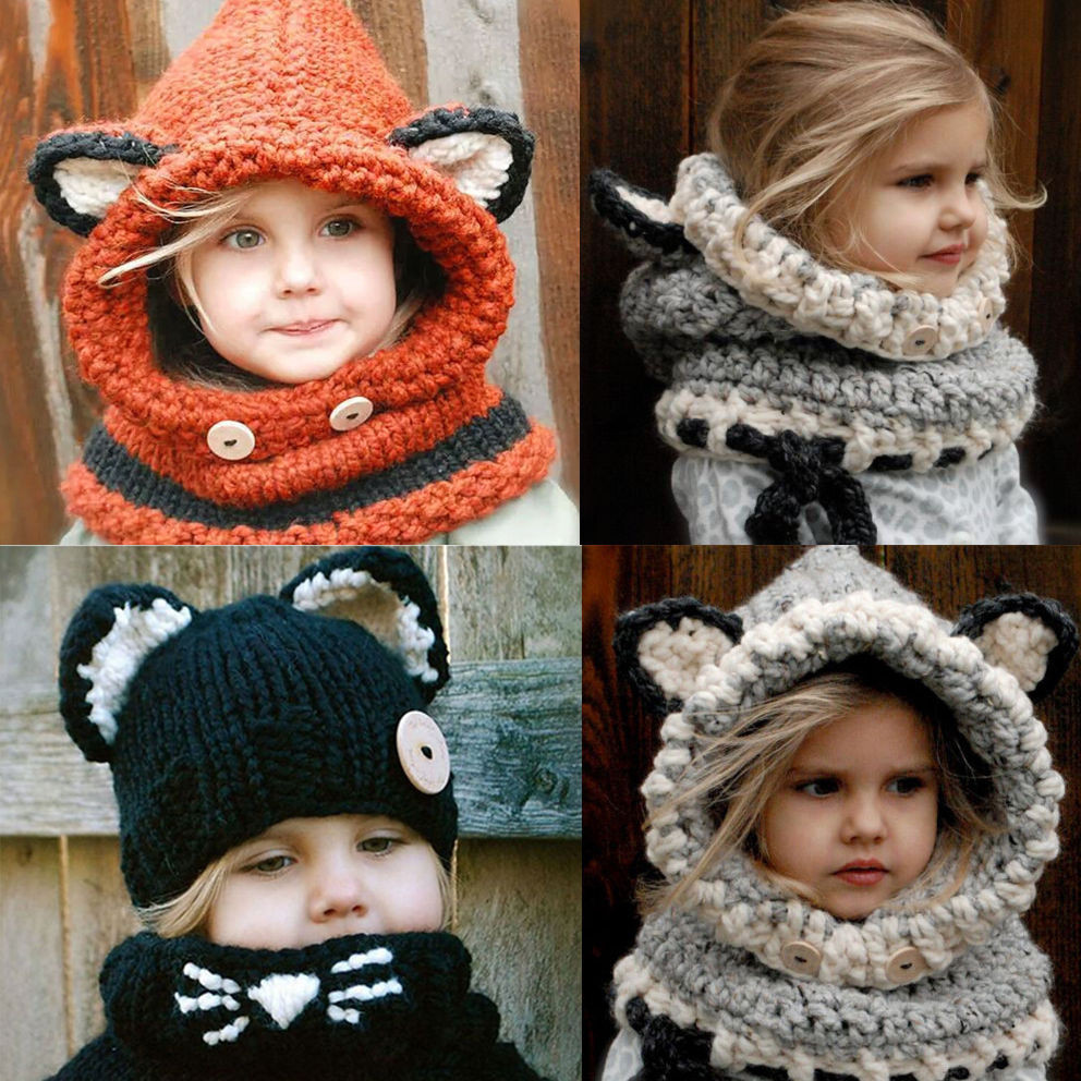 Toddler Scarf Beautiful Baby Girls Boy toddler Kids Winter Fox Hooded Scarf Hat Of Attractive 43 Pics toddler Scarf