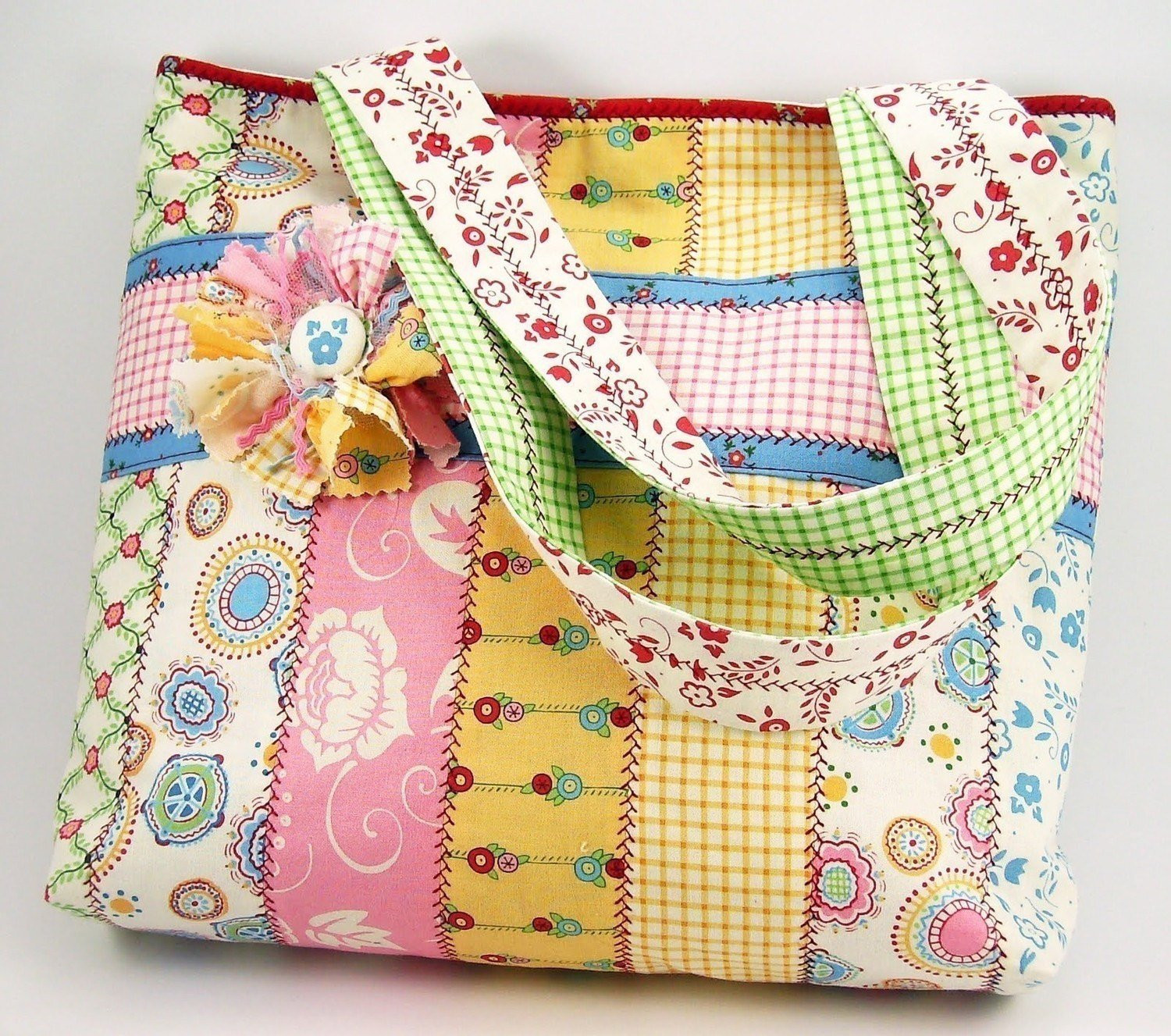 Tote Bag Pattern Inspirational Jelly Roll tote Bag Sewing Pattern with Fabric Flower Brooch Of Beautiful 46 Ideas tote Bag Pattern