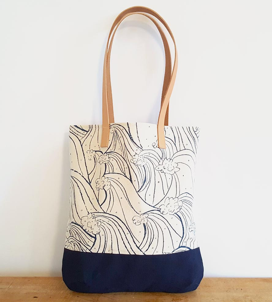 Waves Pattern Canvas & Leather Tote Bag