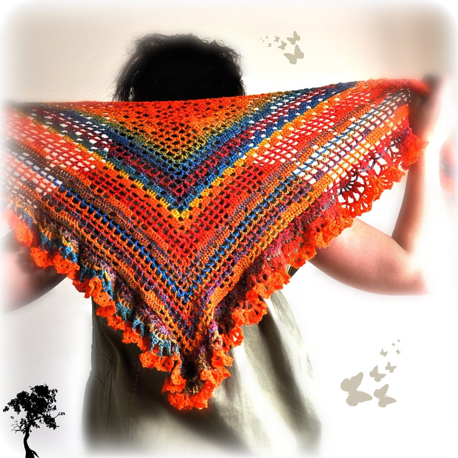 Triangle Shawl Pattern Unique Triangular Crochet Shawl In Crazy Fox Colors Of Awesome 47 Photos Triangle Shawl Pattern