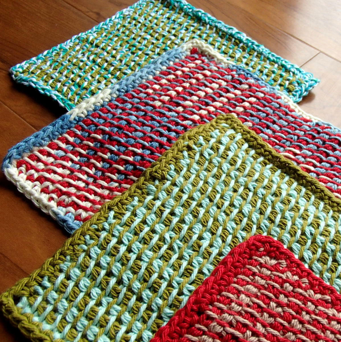 two color tunisian potholders