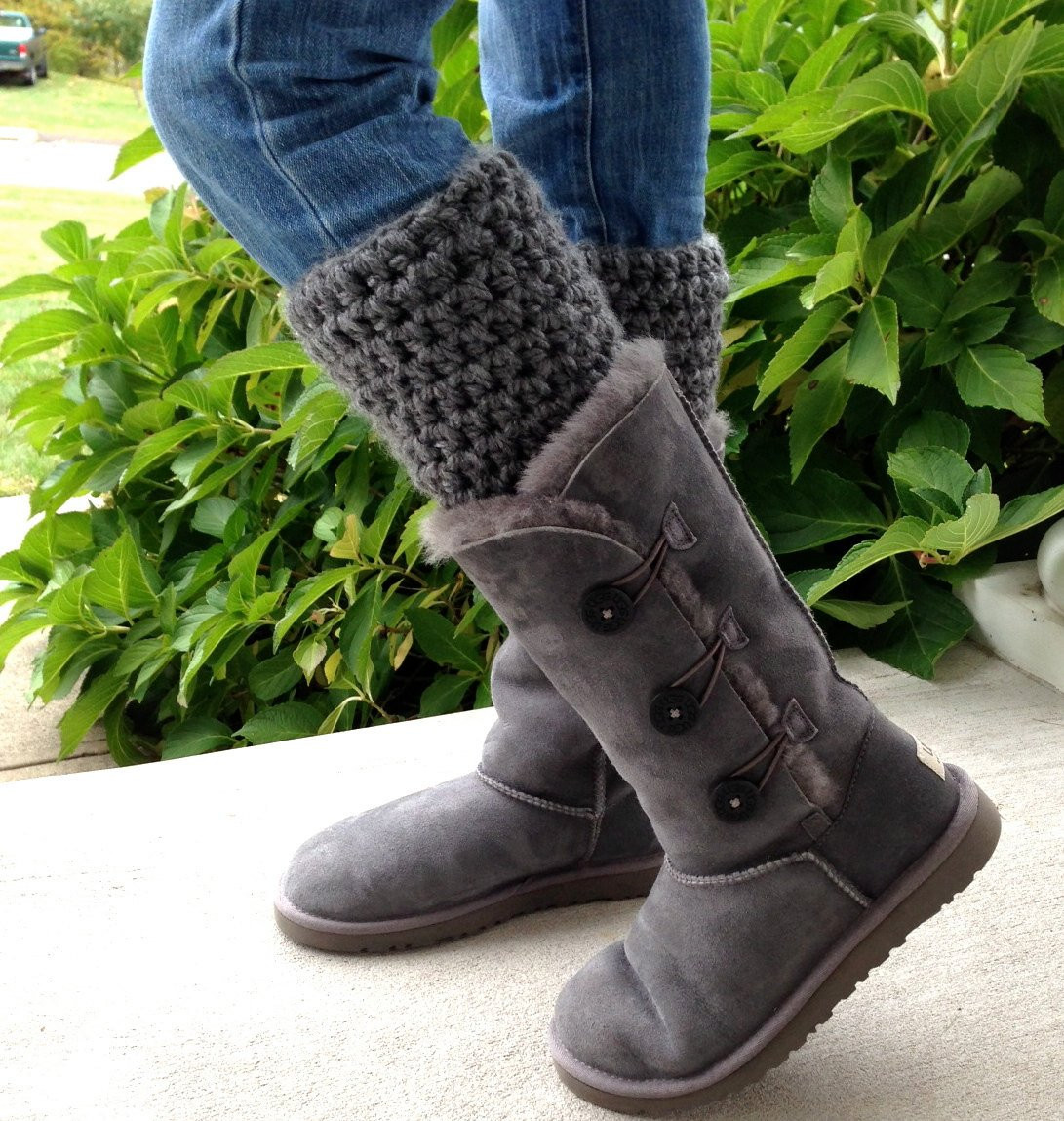 Ugh Crochet Boots Fresh Crochet Leg Warmers Boot Cuffs for Uggs Charcoal Gray Of Charming 49 Models Ugh Crochet Boots
