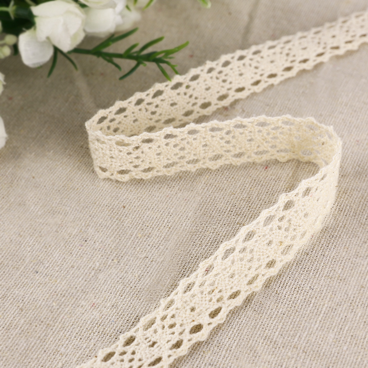 10m Vintage Cotton Crochet Lace Edge Trim Ivory Ribbon
