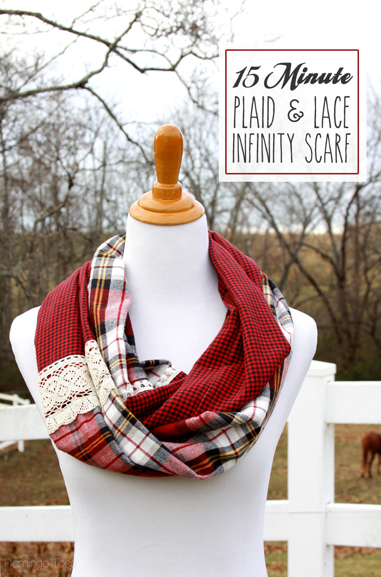 15 minute plaid lace infinity scarf