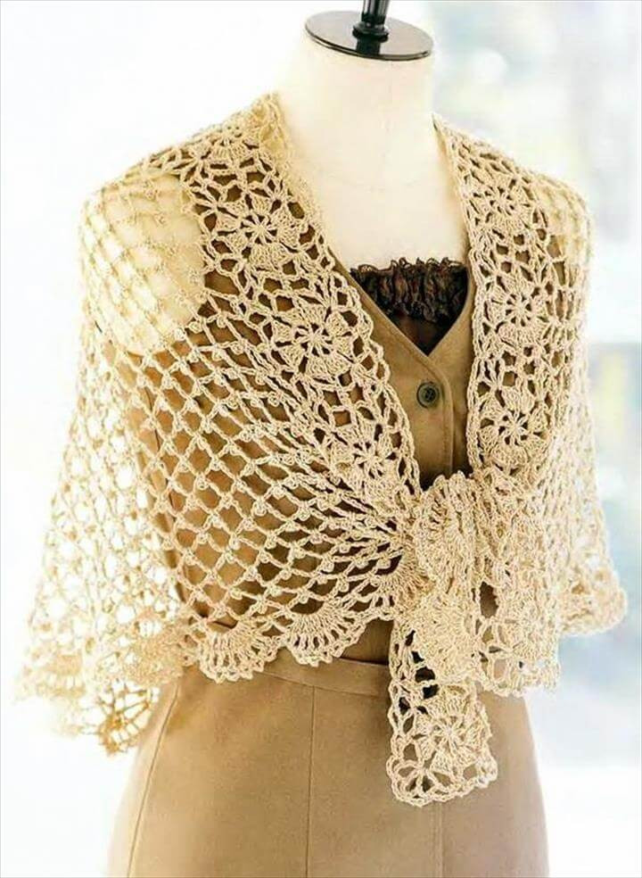 Unique 18 Quick & Easy Crochet Shawl Pattern Free Crochet Wrap Patterns Of Elegant Crochet Shawl Pattern Crochet Wrap with Pineapple Motif Free Crochet Wrap Patterns