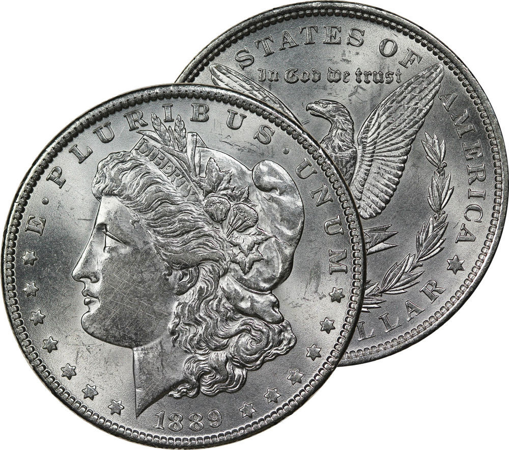 Unique 1889 Morgan Dollar Silver Coin Mint State Uncirculated Bu State Quarter Mintage Of Unique 41 Models State Quarter Mintage