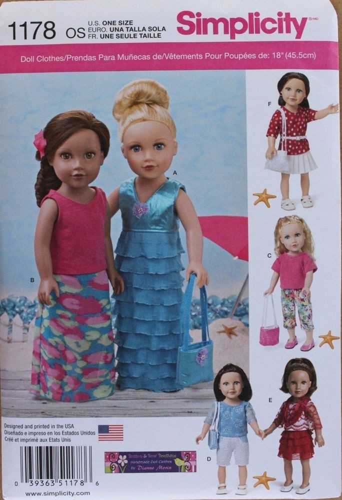"""18"""" GIRL DOLL CLOTHES Simplicity Sewing Pattern 1178"""