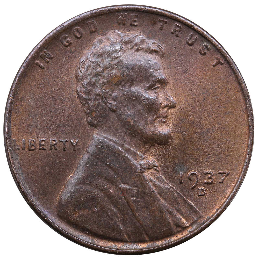 1937 D Lincoln Wheat Cent Uncirculated Penny US Coin