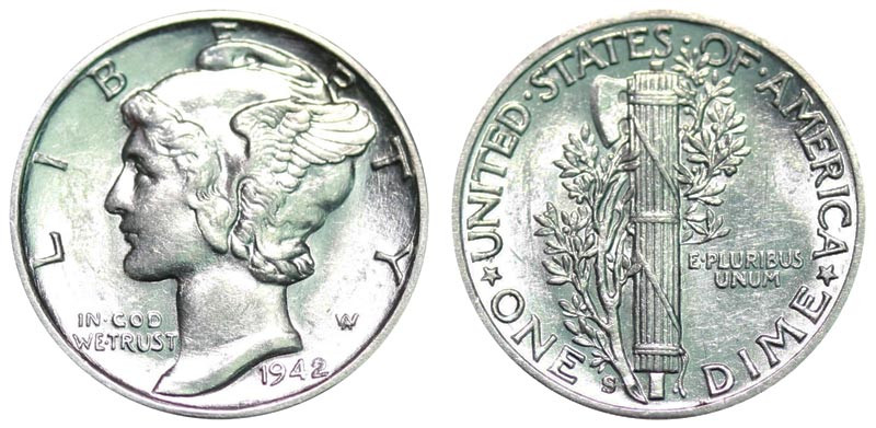 1942 S Mercury Dimes Winged Liberty Silver Dime Value and