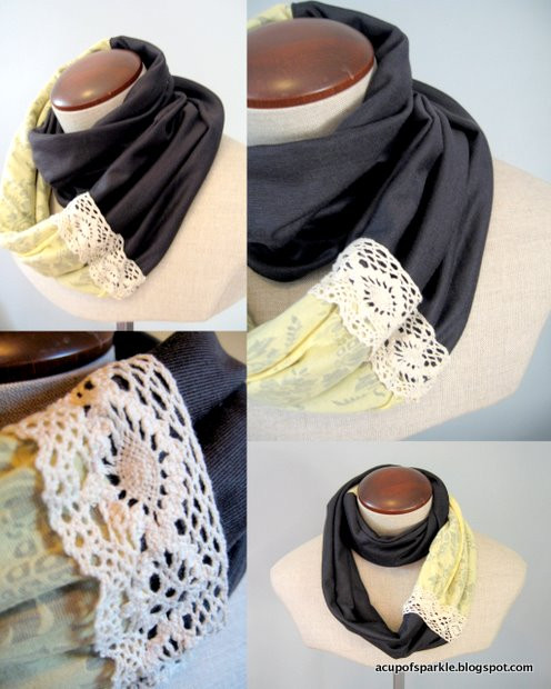 Unique A Cup Sparkle Jersey Lace Scarf Tutorial Lace Infinity Scarf Of Charming 45 Ideas Lace Infinity Scarf