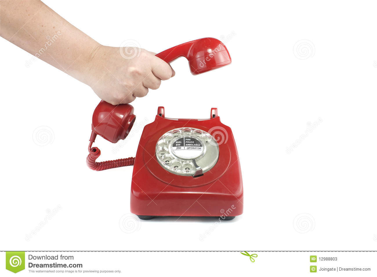 stock photos answering old fashioned red telephone image