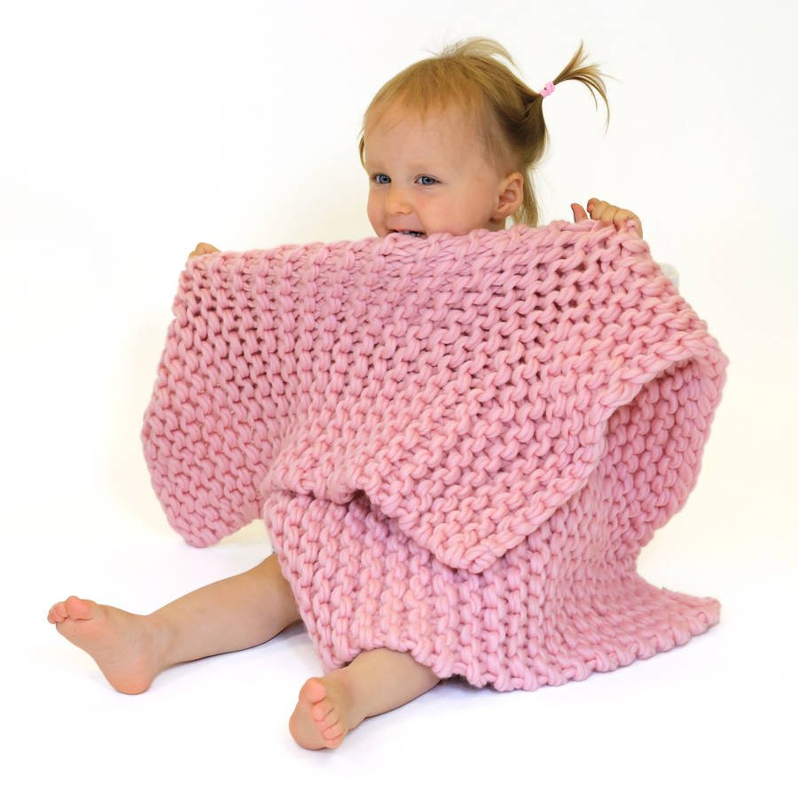 baby blanket beginners knitting kit by wool couture