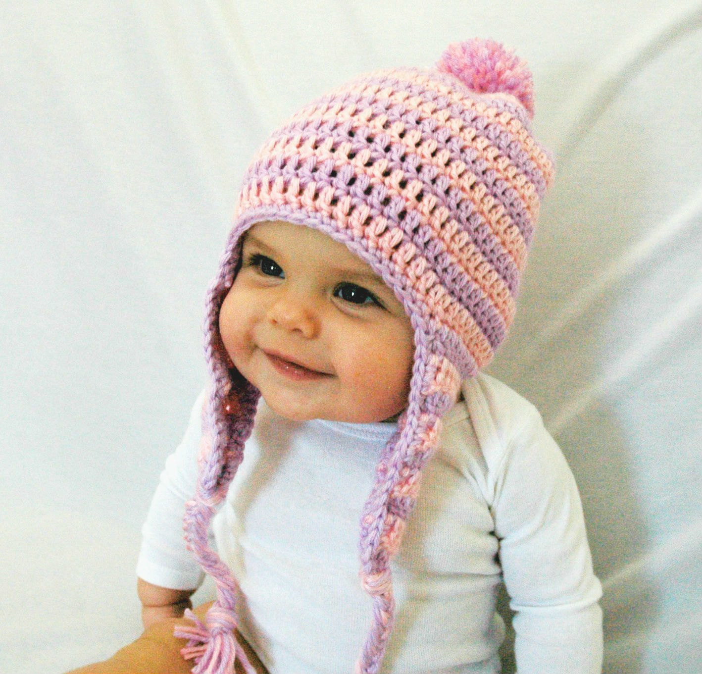 Baby Girl Winter Hat Pink and Purple Hat Crochet Hat