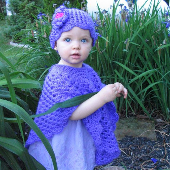 Unique Baby S Poncho and Hat Set Purple Baby Poncho by Crocheted4kids toddler Poncho Crochet Pattern Of Great 46 Images toddler Poncho Crochet Pattern