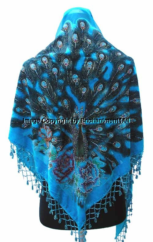 Unique Beaded Triangle Silk Velvet Peacock Scarf Wrap Turquois Peacock Shawl Of Charming 44 Pictures Peacock Shawl