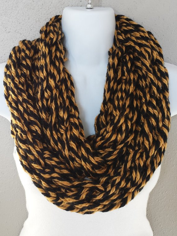 Unique Black & Gold Twisted Yarn Arm Knitted Infinity Scarf Black and Gold Yarn Of Superb 46 Images Black and Gold Yarn
