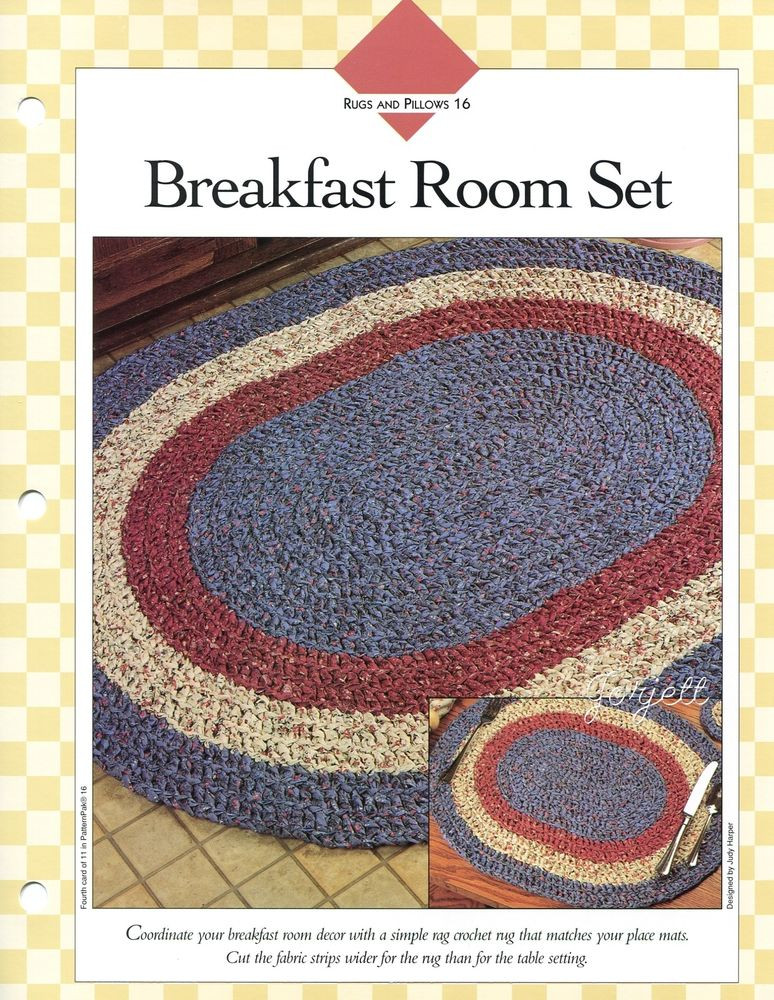 Unique Breakfast Room Set Oval Rug & Placemat Fabric Strip Crochet Rug with Fabric Strips Of Lovely Goat Feathers Crochet Rug and Purse Crochet Rug with Fabric Strips