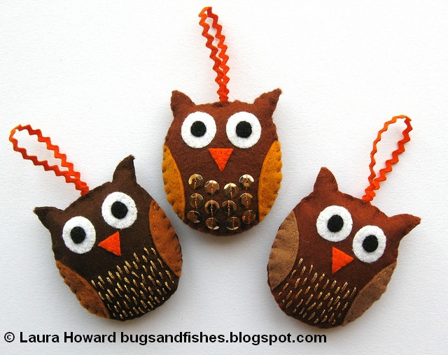 Unique Bugs and Fishes by Lupin 16 Free Felt Christmas ornament Owl Christmas Decorations Of Delightful 49 Pics Owl Christmas Decorations